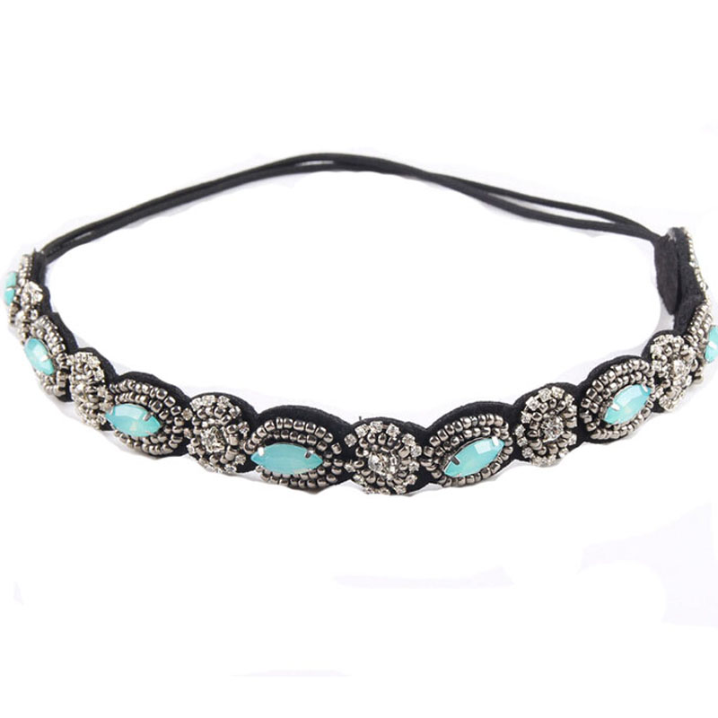 Vintage Bohemian Ethnic Turquoise Metal Beads Flower Crystal Rhinestone Handmade Elastic Headband Hair Band Hair Accessories vintage bohemian ethnic colored tube seed beads flower rhinestone handmade elastic headband hair band hair accessories