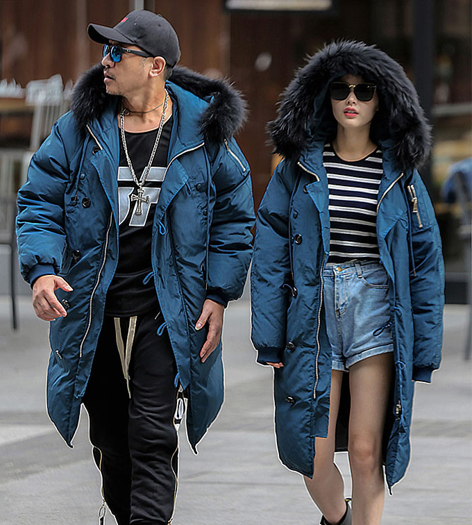 2018 men's winter duck   down     coat   long jacket warm parka for lover couple with real fur hood blue khaki plus big size xxxxxl 5xl