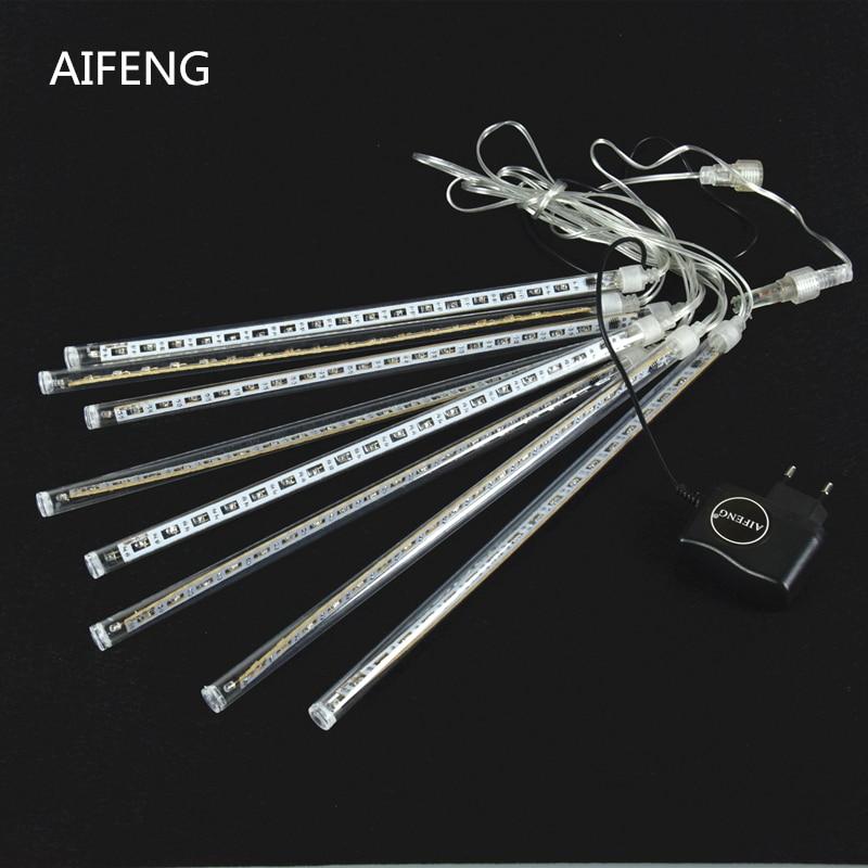 AIFENG 20cm/30cm Meteor Shower Rain Tubes Led Light Lamp EU US Plug Christmas String Light Wedding Garden Decoration 8 tubes
