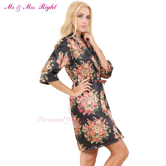 2016 Nueva Floral Longitud de La Rodilla Ropa de Dormir Sexy Túnica Para Mujeres de La Muchacha de Novia Dama de Honor Vestido de Boda Con Impresión de La Flor Pijama