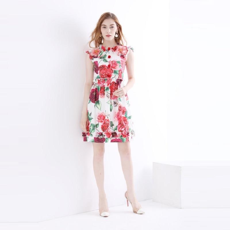 407e0c9c55a De Piste Ruches Papillon 3d Luxe Femmes Imprimé Designer Robe Vêtements  2018 Rose Applique D été ...
