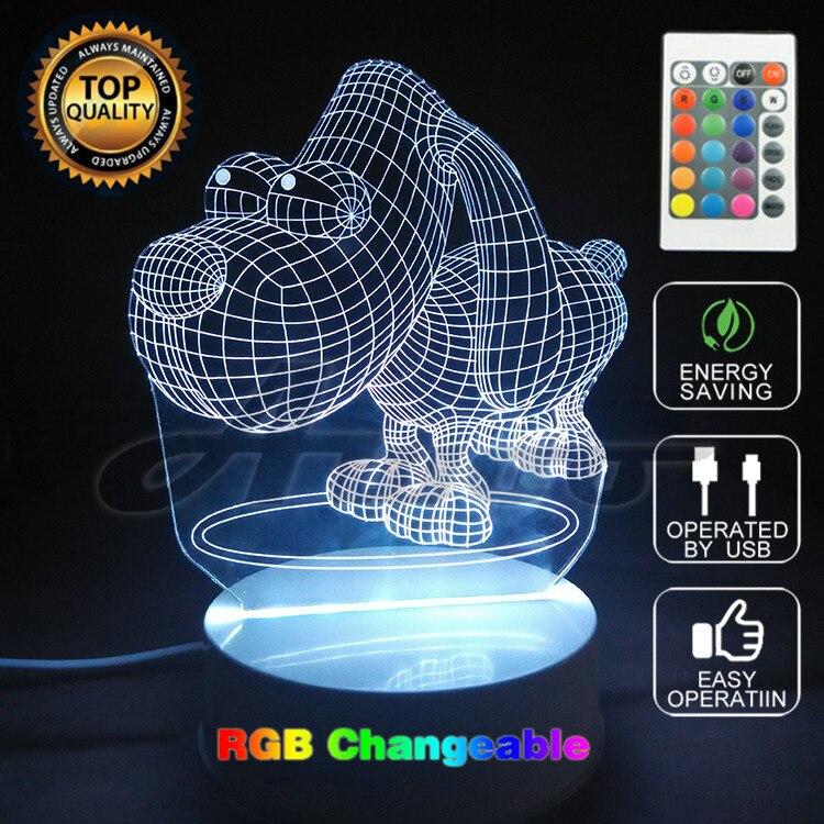 สร้างสรรค์LED 3Dโคมไฟบิ๊กอายสุนัข3D LEDหลายสีภาพภาพลวงตาแสงห้องนอนตกแต่งบ้านที่ไม่ซ้ำกัน