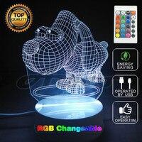 Creativo LED Lampada 3D Cane Grande Occhio 3D LED Multi-Colored Illusione ottica Luce Camera Da Letto Home Decor Unique