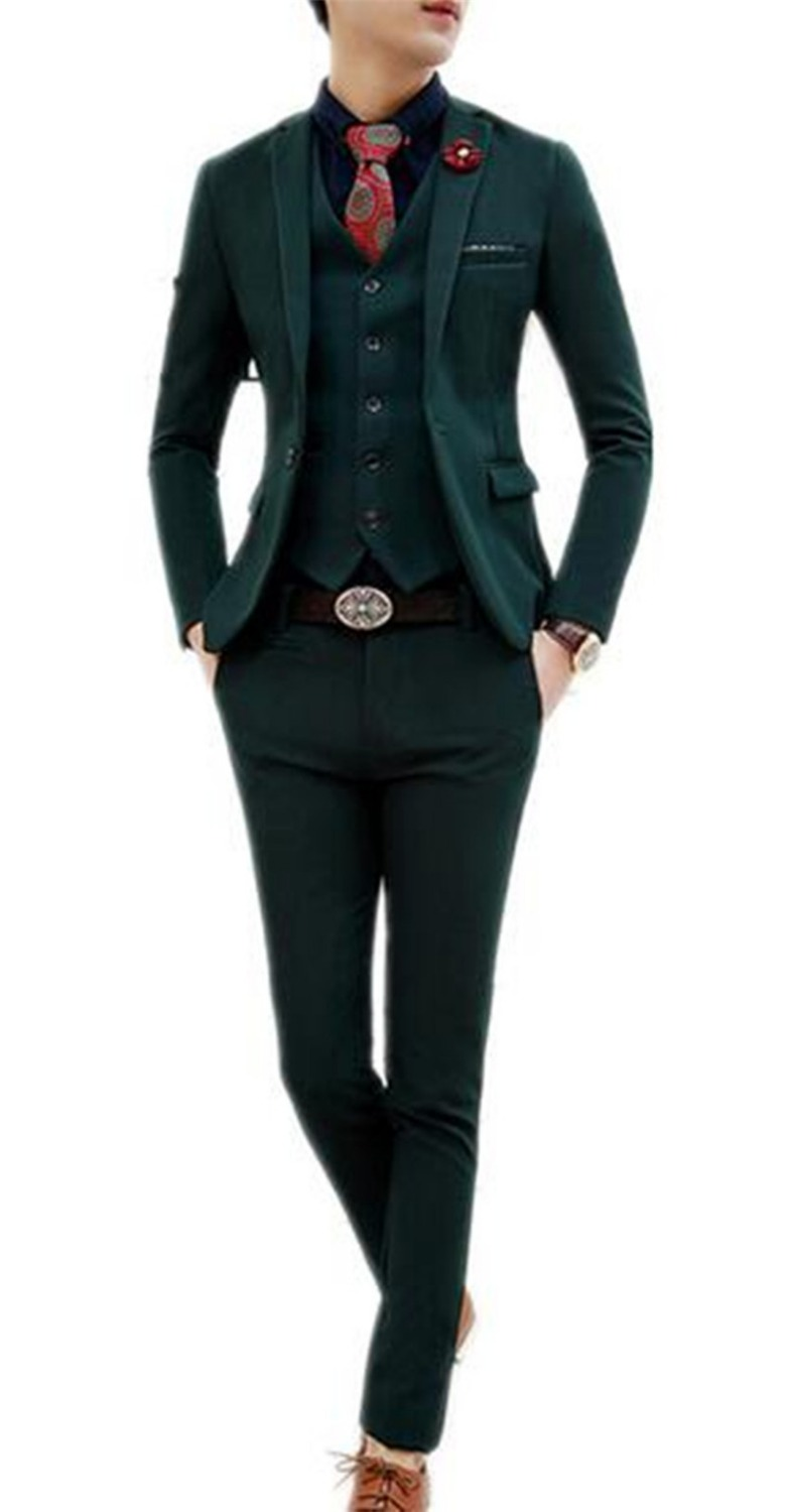 2016 Latest Suits For Man Dark Green Mens Party Suits Tuxedos Fashion Pure Color 3 Piece Mens