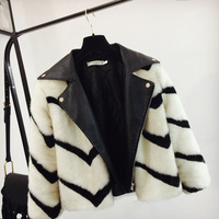 Women Loose Faux Fur Patchwork Leather Jacket Coat Lady Stripe Long Sleeve Imitation Fur Short Coats