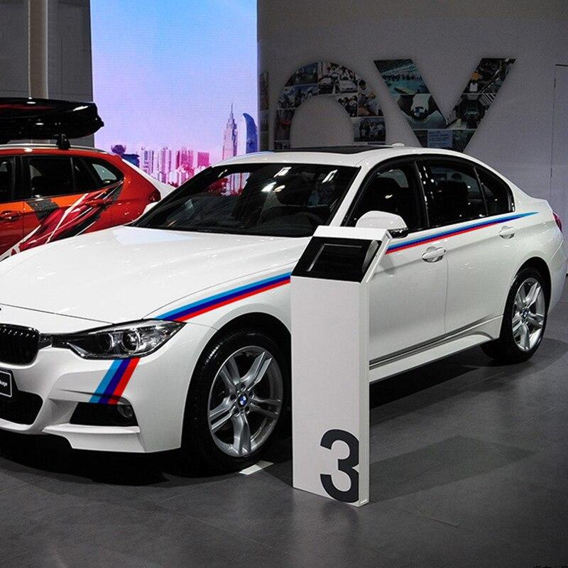 Three color stripes design car body refit decor stickers and decals for BMW E46/E39/E60/E90/E36 and so on,a pair car styling
