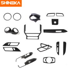 SHINEKA Interior Mouldings For Ford Mustang 2015-2016 Carbon Fiber Decoration Sticker Kit for Accessories
