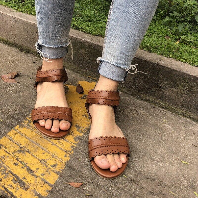 Для женщин s летние сандалии без каблука 2018 Ремешок на щиколотке повседневная обувь Молния сзади на молнии модная обувь удобная обувь Для же... ...