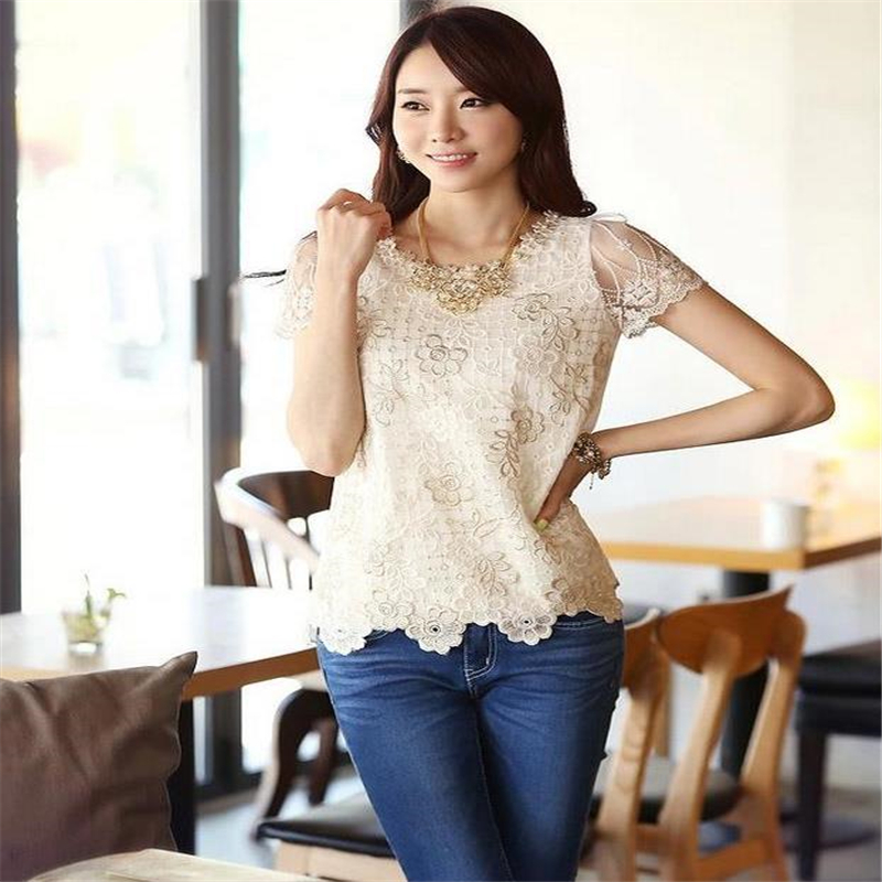 Hot Korea Style Summer Women Hot Sale Chiffon Shirt Lace Tops Beading Embroidery O Neck Tops Blouse Shirt M L Xl Xxl A11