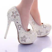 Gorgeous Spring Beautiful Bridal Shoes Ivory Pearl 14cm High Heel Platform Wedding Party Shoes Daughter Prom Pumps