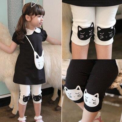 2018 Hot Summer 2-10 Years Old Baby Kids Children White Black Green Cat Print Basic   Capri   Thin Little Girls Knee Length Leggings