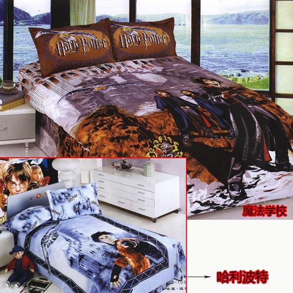 Harry Potter Bedding Bed Full Twin Queen Blue Cartoon Linen Sheet Duvet Cover Bedsheet Quilt