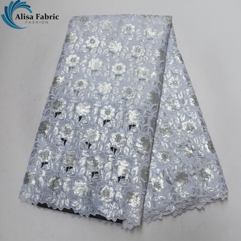 Alisa Cut Hole Design African Organza Lace Fabric 2018 High Quality Lace Silver Sequins African Embroidered