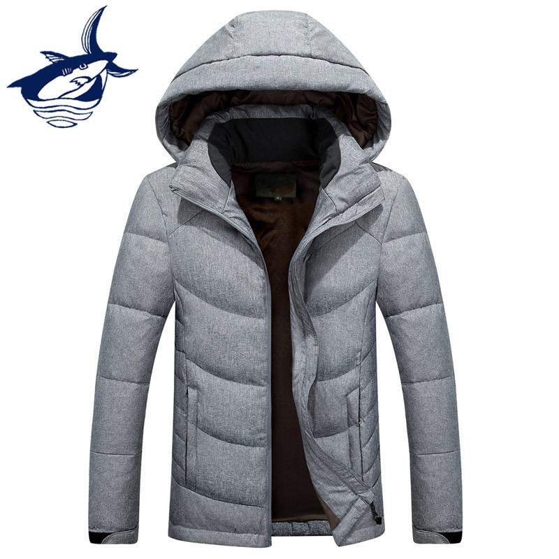 New Fashion Light Down Men Brand Tace & Shark Down Jacket Men Solid Hooded Thermal Warm Winter Mens Jackets Casual Outerwear