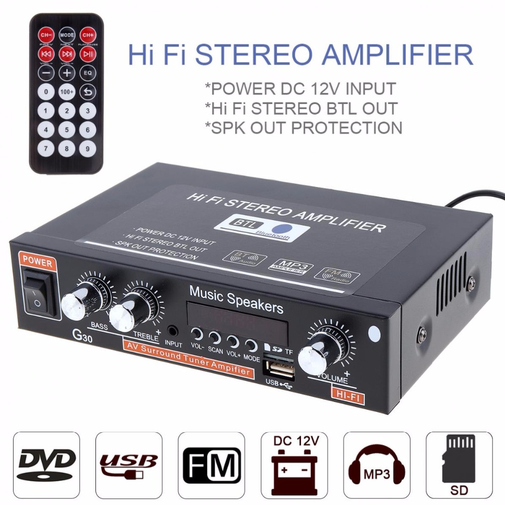 Universal G30 HIFI Bluetooth Car Audio Power Amplifier FM Radio Player Support SD / USB / DVD / MP3 with Remote Controller