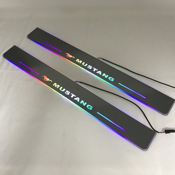 RQXR led moving door scuff for Ford Mustang dynamic door sill plate flat lining overlay rainbow flowing light, 2pcs