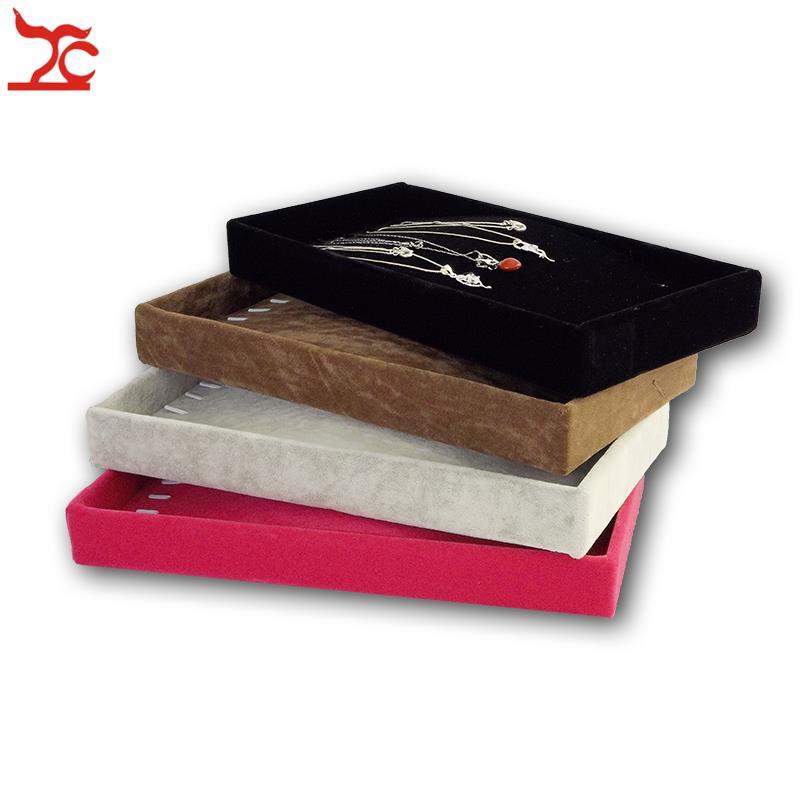 Free Shipping Wholesale Ice Velvet Chain Bracelet Storage Holder Case Jewelry Necklace Display Organizer Tray 11*22*3cm