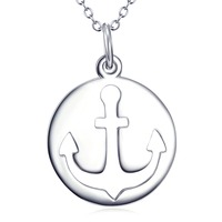 GNX11955 100 Real Pure 925 Sterling Silver Necklace Anchor Round Polished Pendant Charming Jewelry For Women