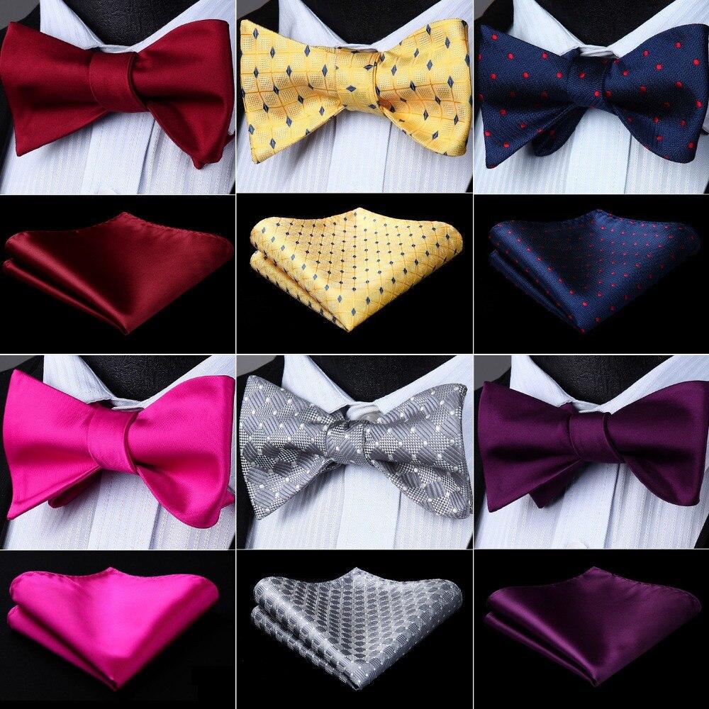 "Men Self Bow tie Pocket Square Classic Party Wedding Fashion Plaid Solid Polka Dot 3.4""Silk Woven Wedding Handkerchief Set #G2"