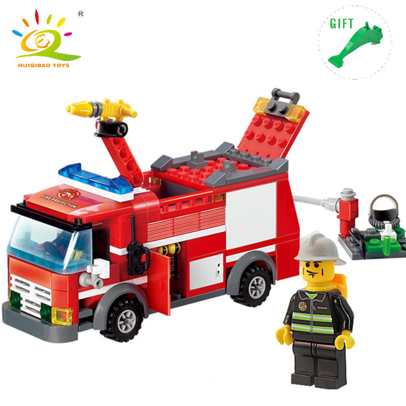 DIY Fire Truck Building Blocks Compatible Legoe City Firefighter figures Enlighten Bricks Construction Series Toy For Children