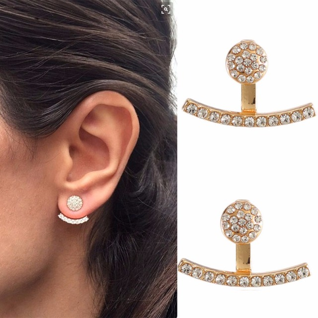 1 Pair Rhinestone Curved Line Ear Jacket Earrings Women Elegant Front Back Two Sides