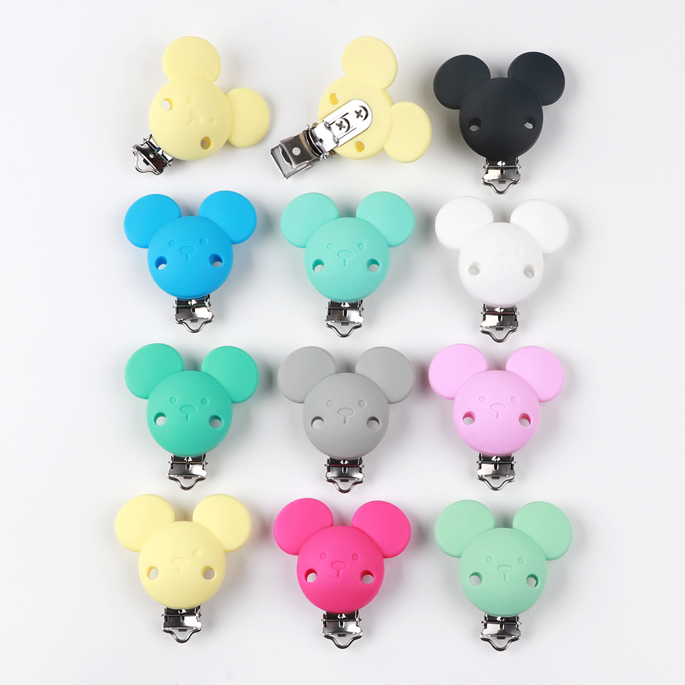 2pc/lot Silicone Baby Pacifier Chain Clip Holder DIY Teething Soothie Holder Dummy Clips Adapters Attachments Mouse Ear Clips