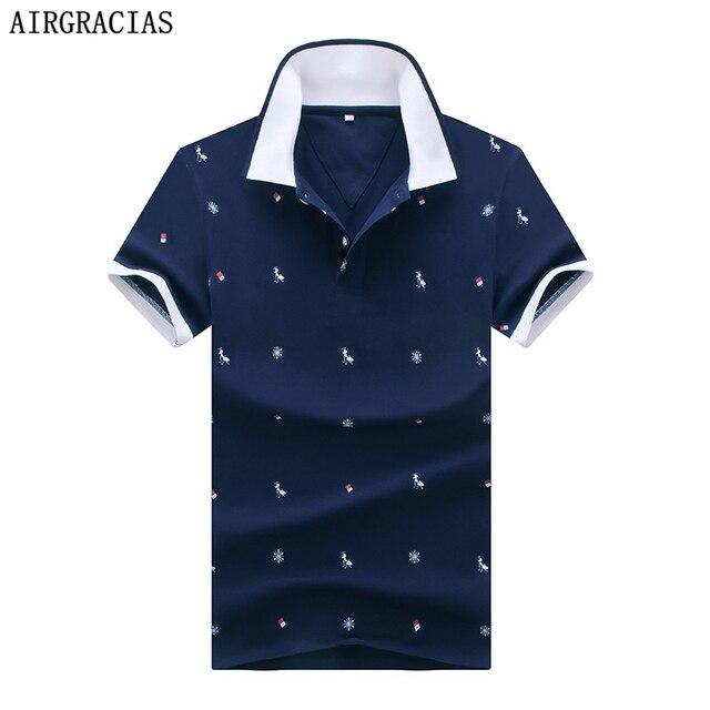 AIRGRACIAS Марка Одежды Polo Рубашка Отпечатано Повседневная Polo Homme Для Мужчин Tee Shirt Верхняя Одежда Высокого Качества Хлопка Slim Fit
