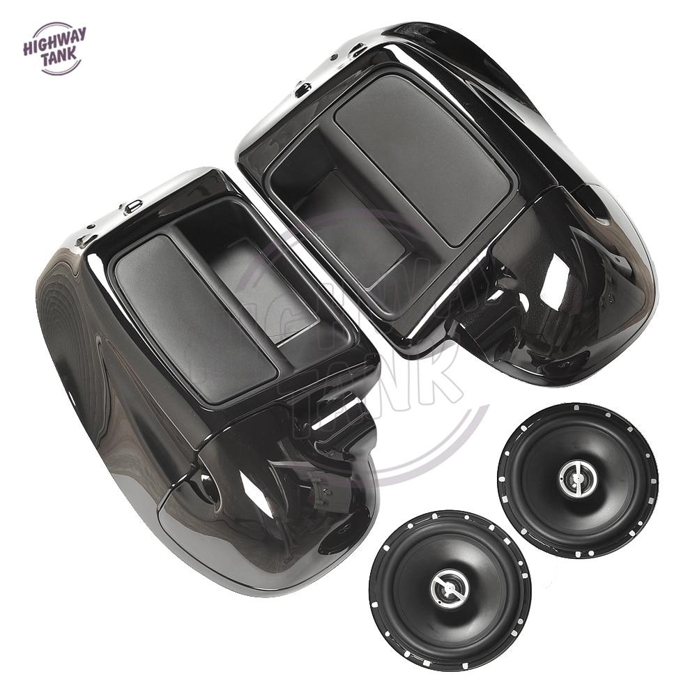 Negro motocicleta 6.5 altavoz baja ventilación carenado para Harley ...