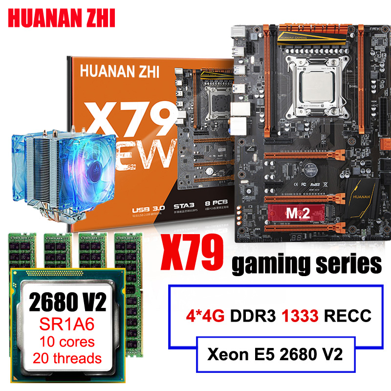 Promotional HUANAN ZHI Deluxe gaming X79 motherboard with M.2 slot CPU Xeon E5 2680 V2 SR1A6 with CPU cooler RAM 16G(4*4G) RECC huanan x79 motherboard cpu ram combos with cooler v2 49 x79 lga2011 processor xeon e5 2680 v2 ram 16g 4 4g ddr3 recc all tested
