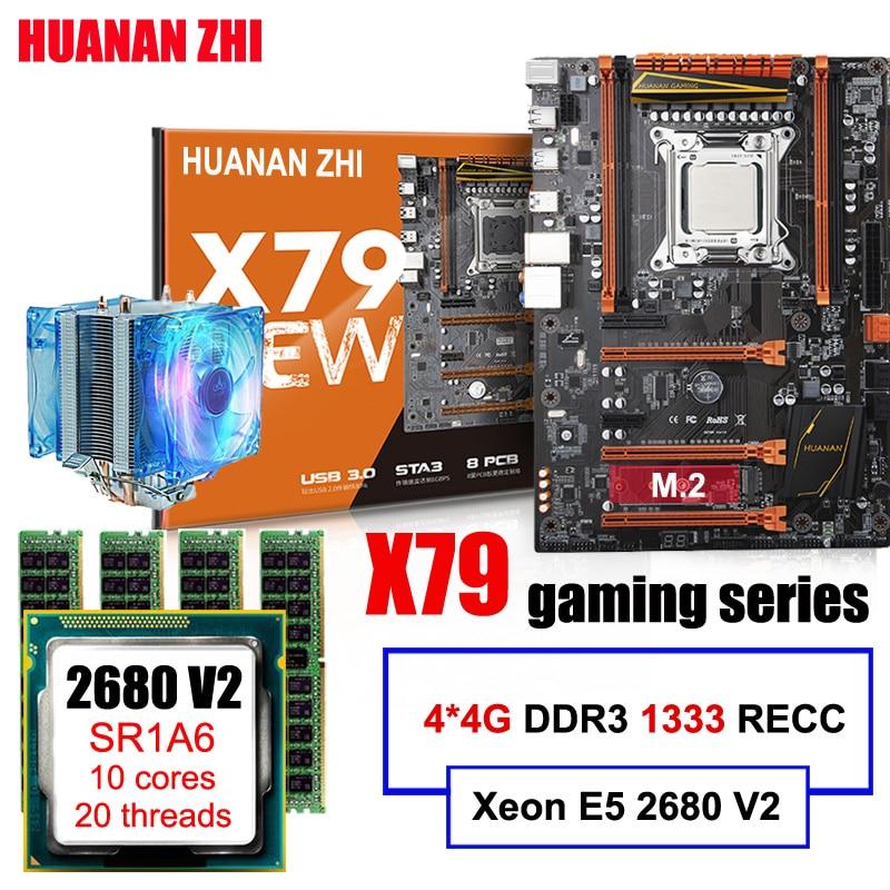 Promotionnel HUANAN ZHI Deluxe jeux X79 carte mère avec M.2 slot CPU Xeon E5 2680 V2 SR1A6 avec CPU cooler RAM 16g (4*4g) RECC