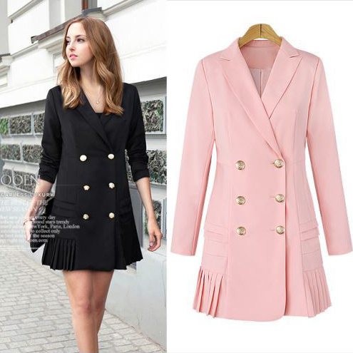 d7643fccb9 Queechalle Pink Black Long Blazer Coat Women Office Lady Workwear Double  Breasted Notched Jacket Suit Women's Blazer-in Blazers from Women's  Clothing on ...