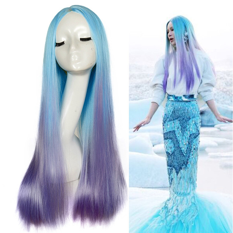 Hot Curly Blue Purple Gradient Color Cosplay Wig Halloween Mermaid Women Girls Play Wig Party Stage Medium Long Straight Hair