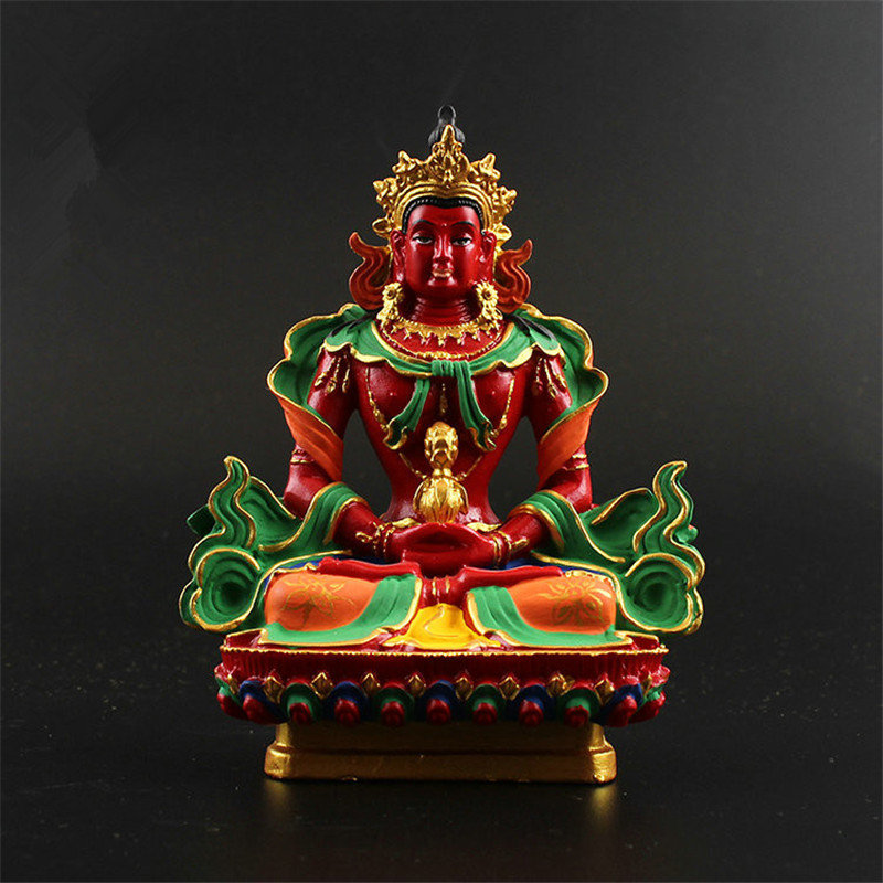 12.5cm Tibet Hand-painted Resin Buddhism Amitayus Longevity God Buddha Statue Bless Protection Family Amitabha Amitayus Buddha