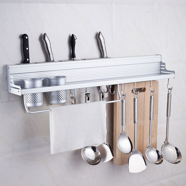 50cm Long Aluminum Kitchen Storage Rack Pantry Pan Pot Organizer Cookware  Holder Hooks Spice Dinnerware Wall