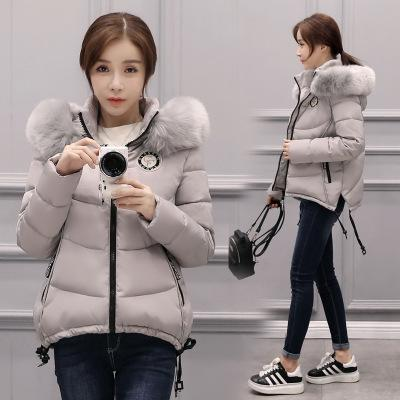 Winter new Korean version of large size hair collar hooded down jacket women thickening Slim was thin cotton women 2017 winter version of the new south korean edition of cotton dress short dress and a large size cotton padded jacket