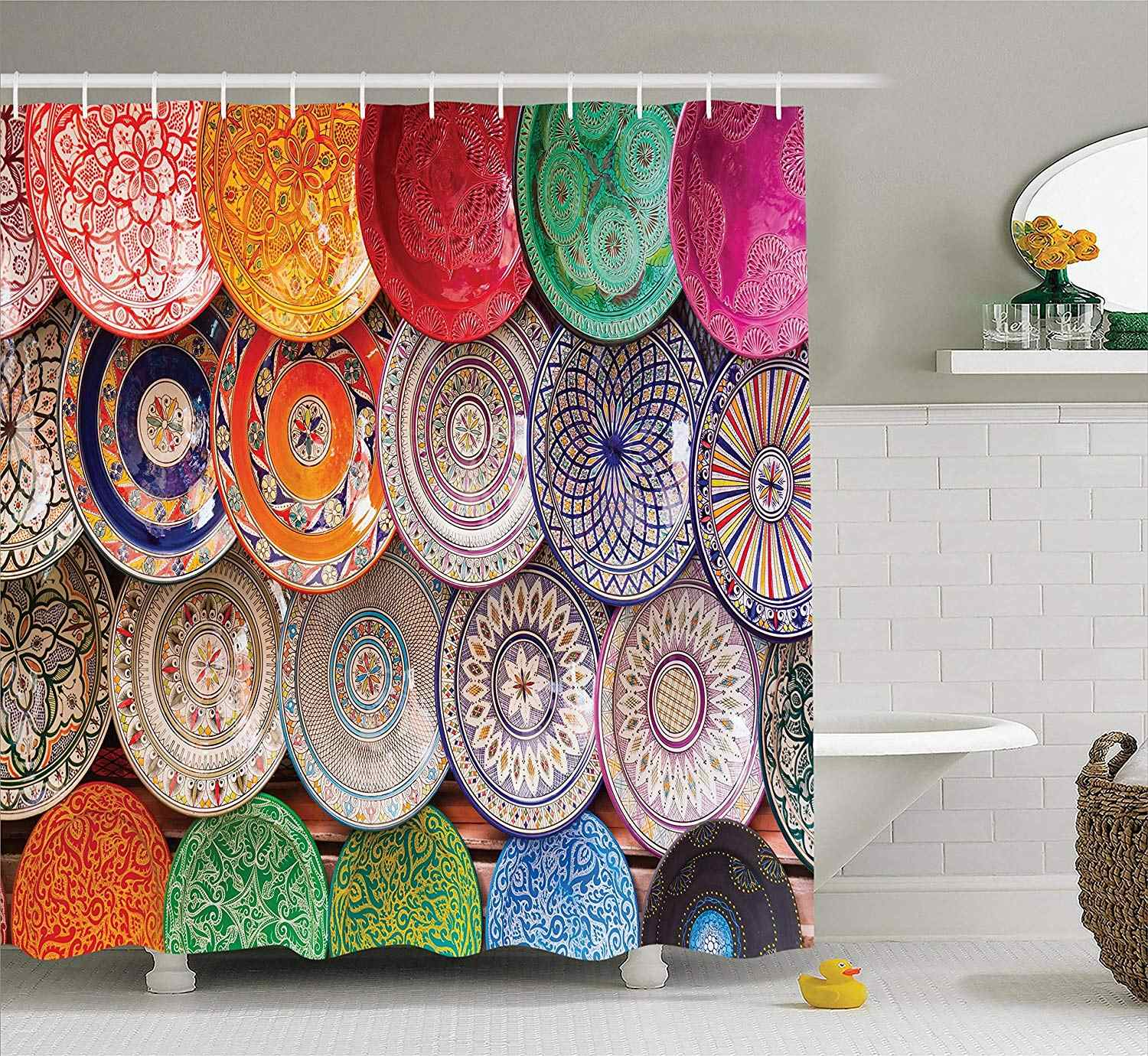 Moroccan Shower Curtain Traditional Arabic Handcrafted Colorful Plates Shot At The Market in Marrakesh Bathroom Accessories