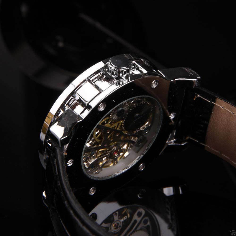 Shellhard Luxury Automatic Watch Black Skeleton Sport Mechanical Stainless Steel Male Wrist Watch Leather Watch Bracelet Clock