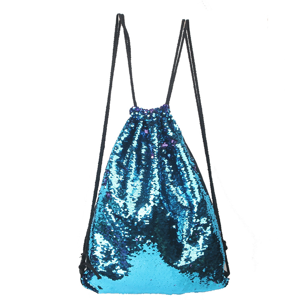 2017 hot sale on Fashion Casual Double Color  Sequins Unisex Drawstring Backpack gift wholesale A3000 hot sale halter beading sequins short homecoming dress