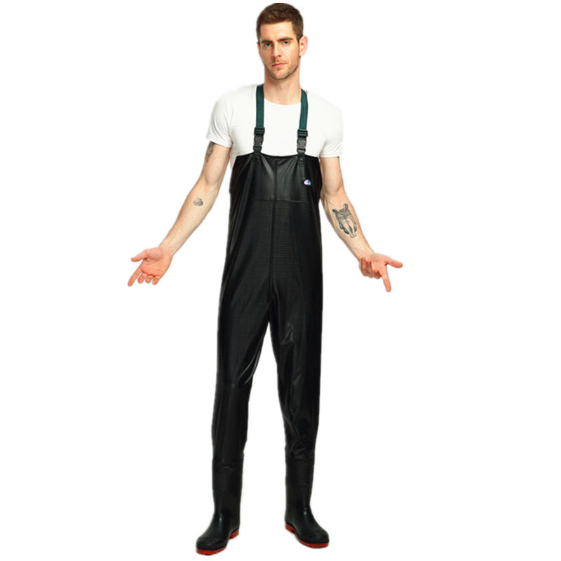 0.4mm PVC Breathable Chest Waders for Fishing 3000mm Waterproof Stocking Foot One piece Chest Waders for Fish Fishing Clothing Fishing Waders     - title=