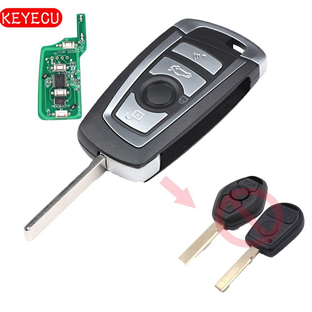 Keyecu EWS Geändert Flip Remote Key 4 Taste 315 MHz/433 MHz Id44-chip 1998-2005 für BMW X5 Z3 Z4 HU92