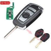 Keyecu EWS Modified Flip Remote Key 4 Button 315MHz 433MHz ID44 Chip 1998 2005 For BMW
