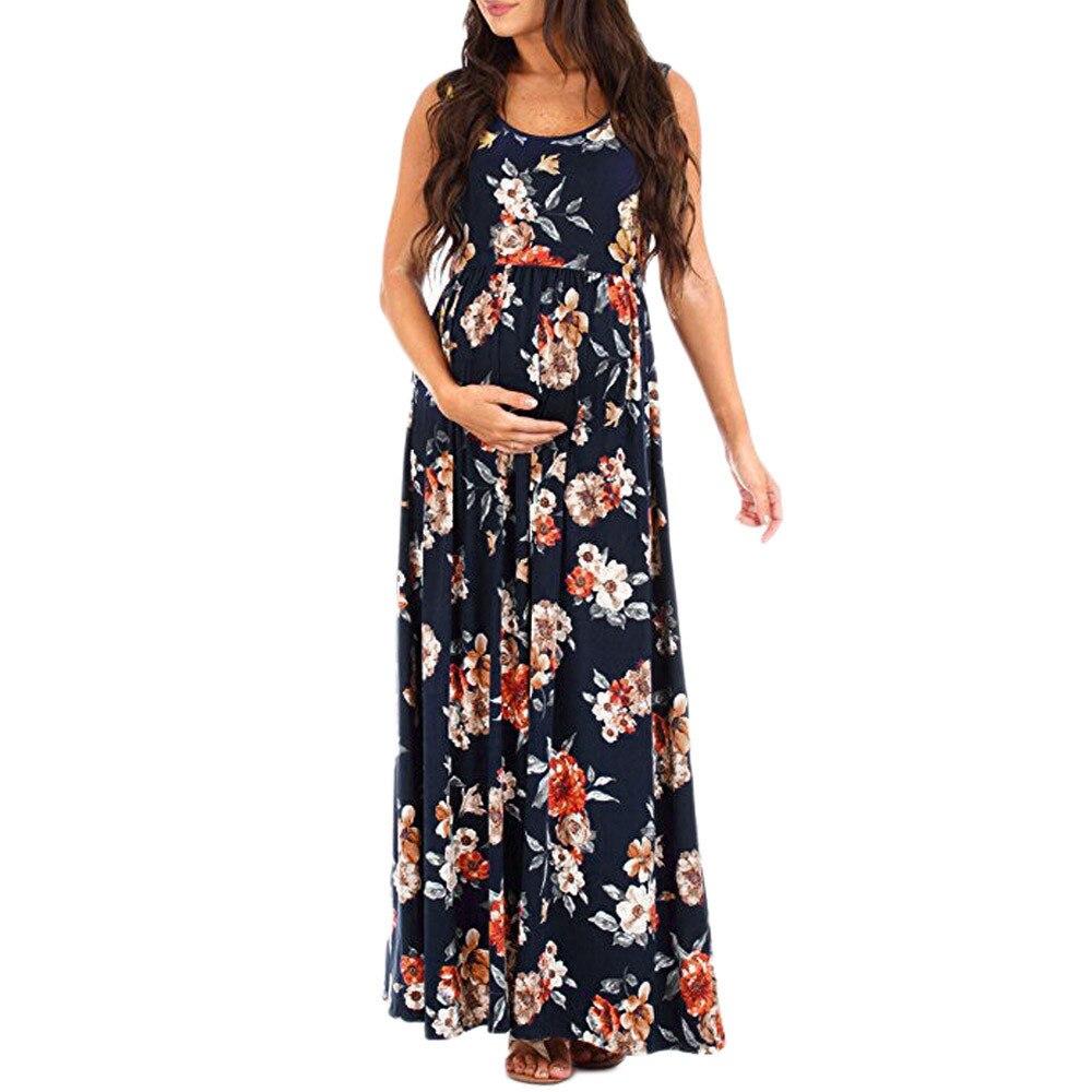 5082b7d07bf0b pregnancy dress Womens Nursing Pregnancy Dress Floral Printing ...