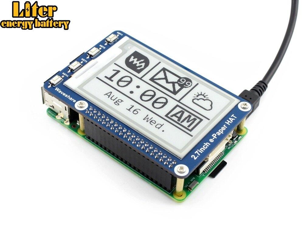 Waveshare 2.7 e paper e-paper, 264x176, 2.7 polegadas e-ink display hat para raspberry pi 2b/3b/zero/zero w, cor preto, branco, interface spi