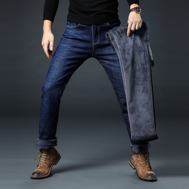 0c43c55c US $27.68 |2019 Winter New Men's Warm Black Jeans Plus Size Slim Fit  Elastic Denim Trousers Male Fleece Thick Big Size 38 40 42 44 46-in Jeans  from ...