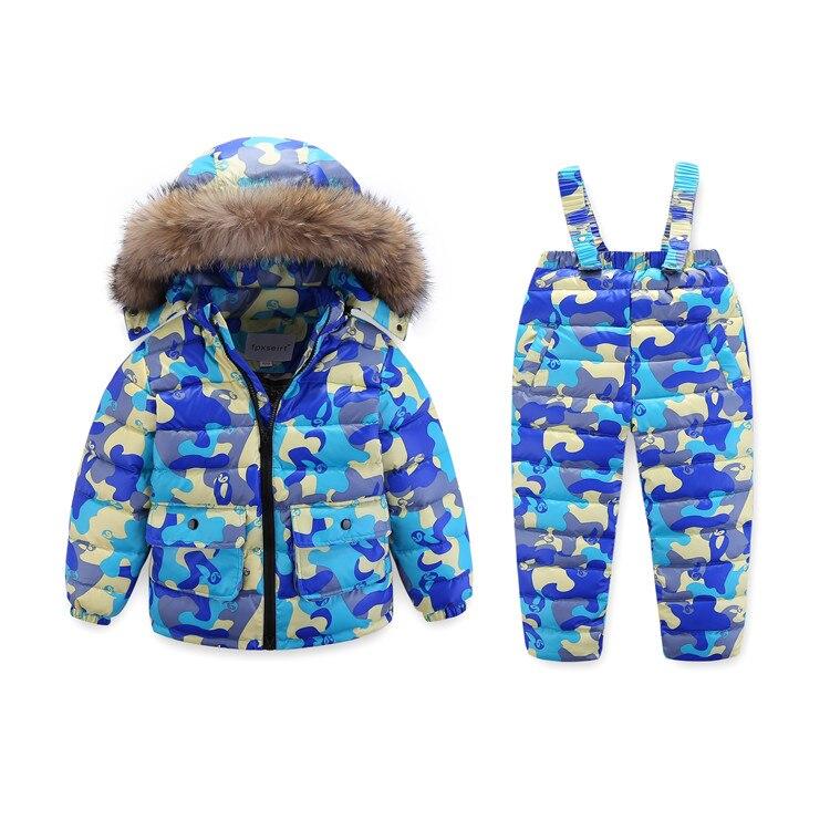 2 ~ 7Y enfants russe hiver Camouflag réel raton laveur fourrure canard vers le bas vêtements ensemble veste pour filles Outwear garçons extérieur Ski Snowsuit