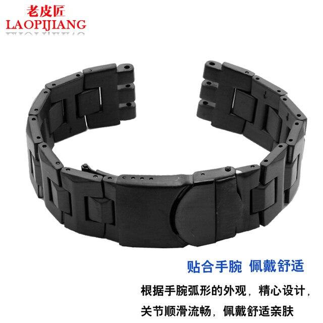 8c83531c1828 Laopijiang 19mm swatch pulsera de acero inoxidable SWQ YCS570G impermeable  con convexa y convexo boca negro color plata