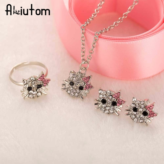 9498a868d ALIUTOM New Crystal Cat Stud Earrings Rhinestone Hello Kitty Earrings  Bowknot Jewelry For Girls Ring,Earring and Necklace Set