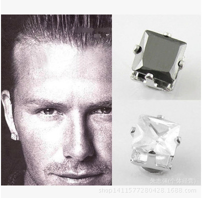 2018 Hot 8mm Magnet Earrings For Men Fashion Cool Rock Square Black Stud Clip No Pierced