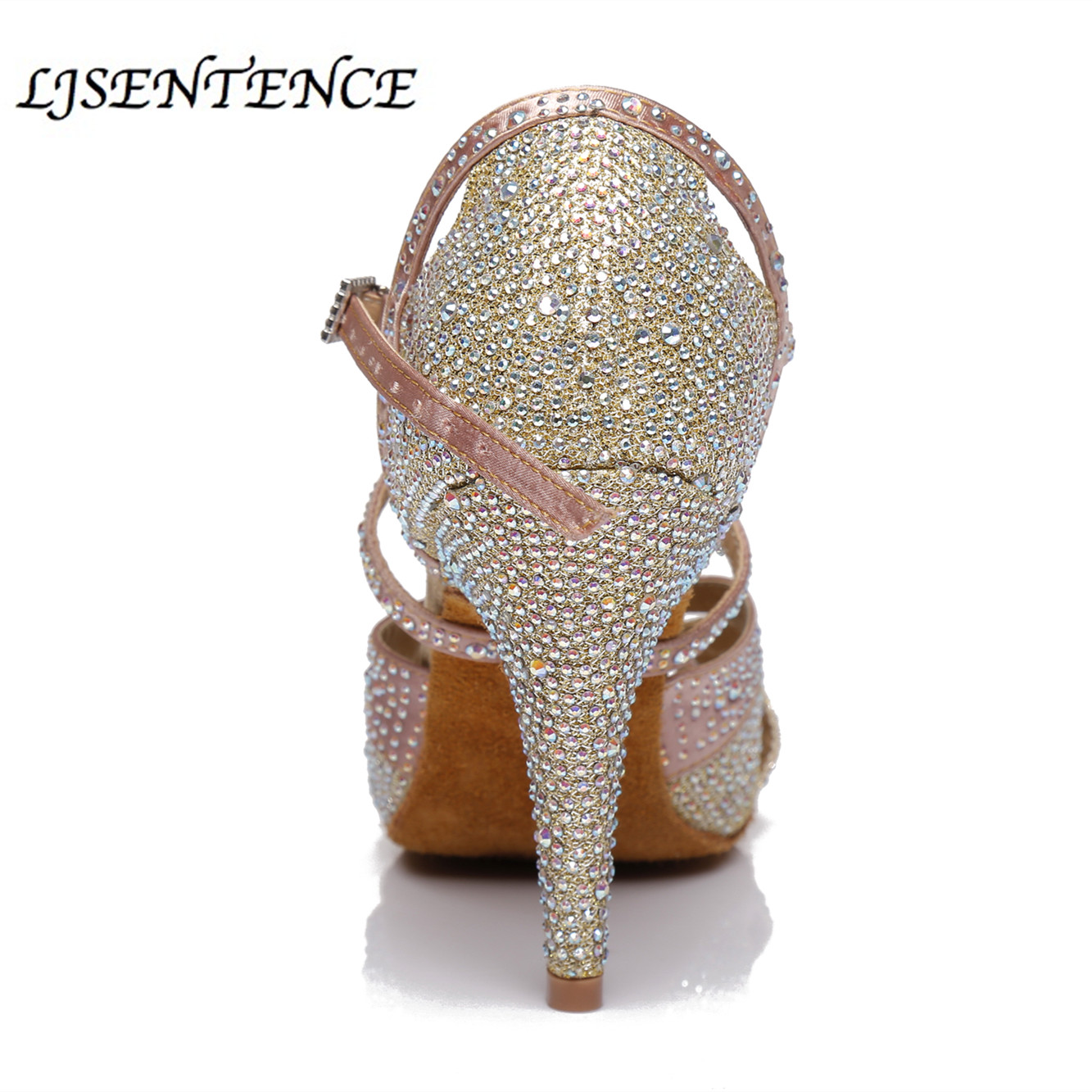 Rhinestone Latin Dance Shoes Dancing Shoes For Women Shoes Pink White Color Pearl High Heel Spike Cuba Soft Sole Flexible Stable