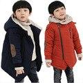 Большие девственные Дети Мальчики зима ребенок утолщение С Капюшоном ватные куртки верхняя одежда плюс бархат хлопок-мягкие пальто 6 7 8 9 10 лет